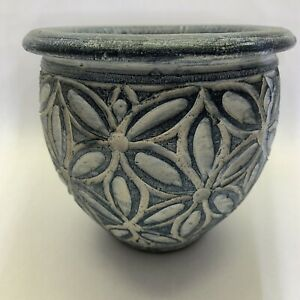 Rustic Clay Planting Pot. Bluish gray and white with Daisies.
