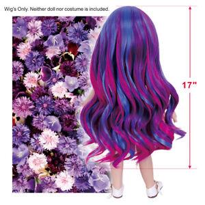 17'' Custom Doll Wig for 18'' Girls Dolls Blue Purple Synthetic Hair Christmas