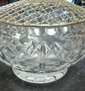 HEAVY LEAD CRYSTAL ROSE BOWL WITH MESH TOP ~ BEAUTIFUL ITEM