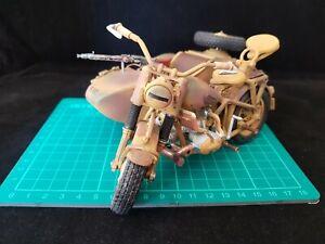 1/15 Polistil WWII German BMW R75 Motorbike with Side Car Metal Die Cast Model
