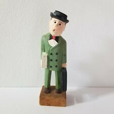 Unsigned New Mexico Wood Carving Painted Whistling Traveling Salesman Statue 12""