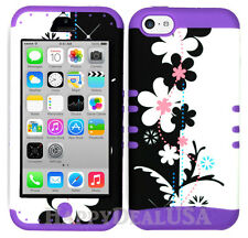 For Apple iPhone 5c KoolKase Hybrid Shockproof Silicone Cover Case - FLOWER 72