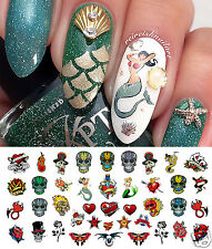 Rockabilly Tattoo Skull Nail Art Decals Assortment #2 - Salon Quality!