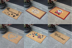 Heavy Duty Printed Coir Door Mats with Strong Vinyl Backing Waterproof Entrance
