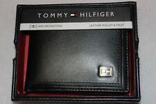 Tommy Hilfiger Men's Black Genuine Leather RFID Bifold Passcase Wallet NIB