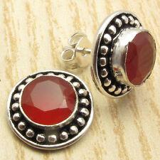 STUD Earrings 1.4 cm ! Cut Red CARNELIAN Gem Silver Plated Gift Jewelry