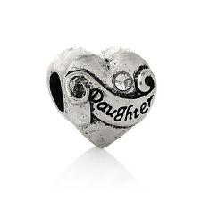 Daughter I love You Heart Rhinestone Spacer Charm for European Slide Bracelets