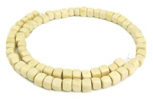 Ambaba-White Pearl Strand Cube Approx. 6 - 7 MM Wooden Beads Natural Beads