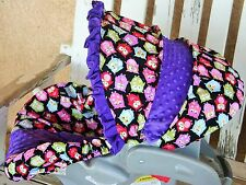 bright owls and purple minky w/satin ruffle infant car seat Cover and hood cover