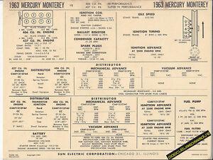 1963 MERCURY MONTEREY V8 406/427 ci HI-PO & SUPER Car SUN ELECTRONIC SPEC SHEET