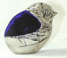 Pin Cushion in shape of little Chick with blue velvet pin pad - silver plated
