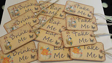 Alice in Wonderland Gift Tags x 12 - Eat me, Drink me, Open Me - Large Size