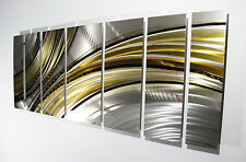 Large Metal Wall Art Panels Abstract Modern Silver Gold Painting Home Decor