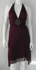 LOVE TEASE Dressy Purple Halter Dress Low Cut Beaded Front Longer on Sides Sz S