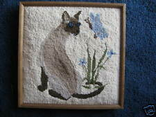 """Siamese Cat-Needlepunch-picture-15""""X15""""-Hand Made"""