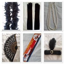 20s Flapper Headband Feather Boa Gloves Cigarette Holder Necklce Fan Gatsby Set