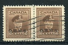 Weeda Canada O2 VF used pair, OHMS official overprint, KGVI War Issue CV $20