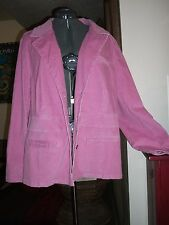 Woman Plus Size 22/24W Pink Soft Cord Button Down Stretch Jacket by Faded Glory