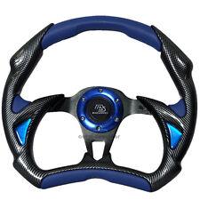 320mm JDM 6 Bolt Hole Blue PVC Leather Carbon Fiber Battle Style Steering Wheel