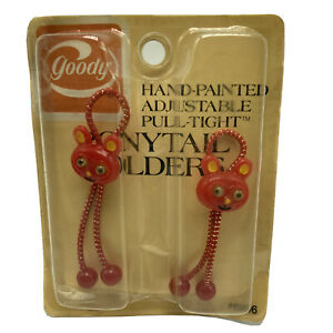 Vintage Goody Adjustable Pull Tight Ponytail Holders Mouse Bunny Red