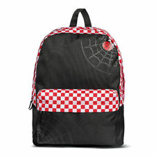 Vans School Bag Realm Backpack Marvel Spiderman Red Black Check Travel Rucksack