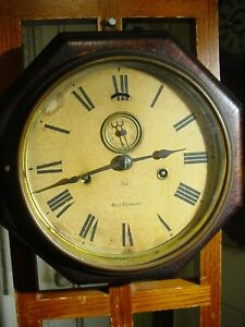 ANTIQUE SETH THOMAS 1879 OCTAGON LEVER WALL CLOCK TIME ONLY WITH SECOND HAND