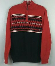 Chaps Mens Cotton Nordic Fair Isle Holiday Red Black 1/4 Zip Sweater Sz S      H