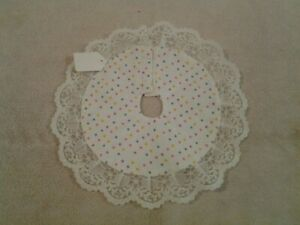 """Easter or any occasion 9"""" mini tree skirt polka dots with lace trim - NEW"""