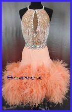U6215 Feather fur ballroom Women Latin salsa rumba Dance Dress Custom made