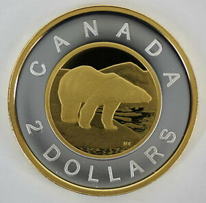 CANADA 2021 $2 GOLD PLATED 99.99% PROOF SILVER TOONIE HEAVY CAMEO COIN