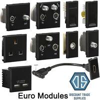 Black Euro Data Module Inserts HDMI TV Satellite Cat5 Cat6 Quad Multimedia USB