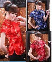 Charming Chinese Women Silk Satin TopsT-shirt Dress Cheongsam Short Sleeve Ske15