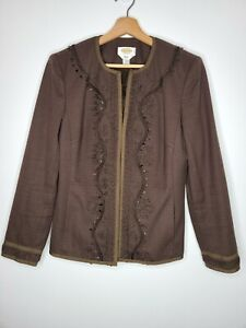 Talbots Womens Jacket Blazer Brown Stones Ribbon Trim Fitted Lined Size 6