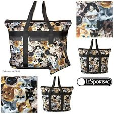 LeSportsac Cat Cafe Large Travel Tote + Cosmetic Bag Colorful Cats NWT Free Ship