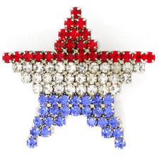 Flag Star Brooch Pin PinMart's Rhinestone Patriotic American