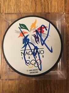 Jari Kurri Signed 1998 Nagano Olympics Hockey Puck Edmonton Oilers Finland Kings