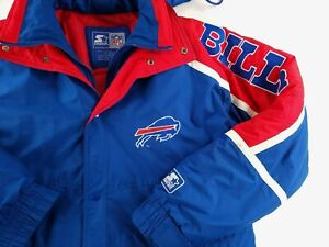 Vtg 90s Buffalo Bills Starter Puffer Jacket Mens Sz XXL Full Zip Colorblock Hood