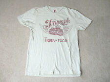 Lucky Brand Triumph Shirt Adult Small White Red Motorcycle Biker Casual Mens