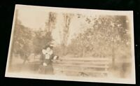 Pittsburgh , Pa RPPC Schenley Park, Lady With Hat On Bench Real Photo c 1910
