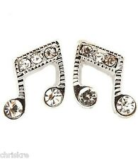 Silver Crystal Music Note Earrings Plated Musical Musician Gift Eighth Notes USA