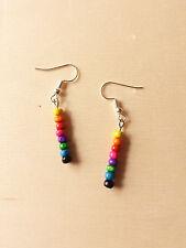 Farbenfrohe Regenbogen Ohrringe mit Holzperlen ♥ Handgefertigter Schmuck Bunt