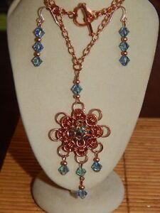 Hand-made Solid  Copper Chain Maille & 'Captured' Crystal Rivoli & beads set