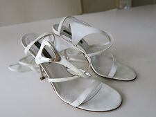 "Authentic Sergio Rossi White Strappy 4"" Stiletto Sandal Sz 36 Italian Made"