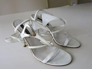 """Authentic Sergio Rossi White Strappy 4"""" Stiletto Sandal Sz 36 Italian Made"""