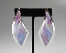 """Large Vintage Sterling & Purple Abalone Shell Mosaic Post Earrings 3"""" High"""