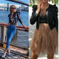 Cropped Jacket Women's PU Leather Puff Sleeve Coat Ladies Blazer Bomber Tops UK