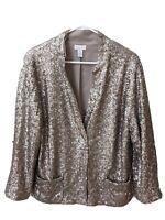 Chico's Sequin Jacket size 3 (XL) Platinum Beige Blazer Jacket Lined