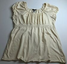 Level 8 Women's Short Sleeve Peasant Blouse Top 22 24 Plus Beige Cream Boho