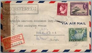 GP GOLDPATH: CURACAO COVER 1943 REGISTERED LETTER AIR MAIL _CV570_P23