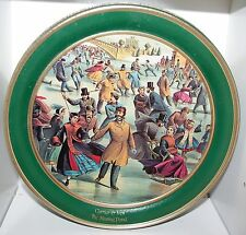 "SCHWAN'S Currier & Ives THE SKATING POND Tin Box Container Canister 9 3/4"" x 4"""